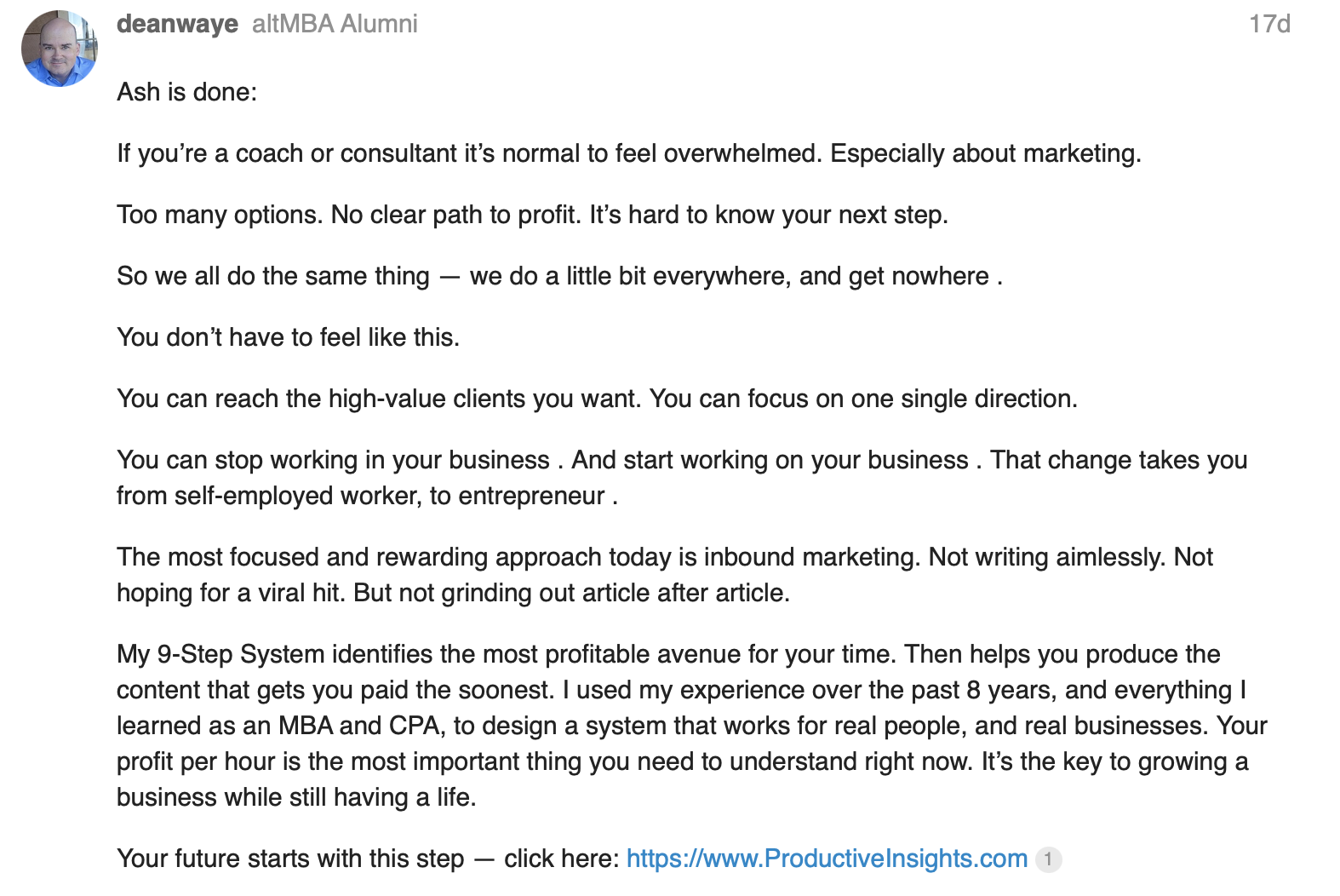 LinkedIn profile summary example